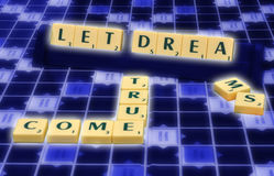 Scrabble words. Let dreams come true scrabble words Royalty Free Stock Photography