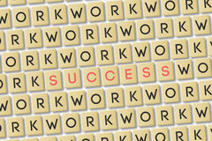 Scrabble: Work is Success Stock Photo