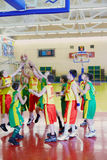 Scramble for ball under basket in game Stock Images