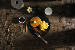 Scramble Egg and Fried Bacon on Plate