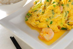 Scramble egg shrimp Royalty Free Stock Photography
