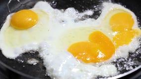 Scrambled de três ovos crus fritou em uma bandeja, close-up video estoque