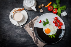 Scrambled egg with asparagus Stock Image