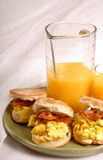 Scrambled egg and bacon biscuits Royalty Free Stock Photography