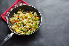 Scrambled egg. ( egg bhurji) with bell peppers,onions and black pepper Stock Photography