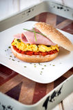 Scrambled egg in bun Stock Photography