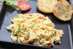 Scrambled egg. In close up Stock Photography