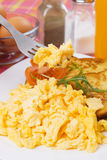 Scrambled egg on fork Royalty Free Stock Image