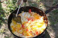 Scrambled egg fried on coals in pan on open fire, cook over an open fire Royalty Free Stock Photo