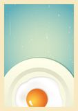 Scrambled egg on plate. Retro background Stock Photo