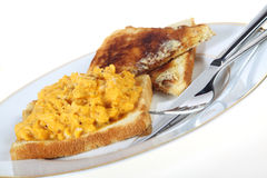 Scrambled egg plate, slanted Royalty Free Stock Image