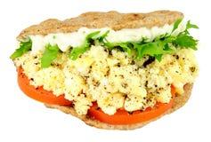 Scrambled Egg And Salad Flat Bread Sandwich Royalty Free Stock Photo