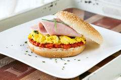Scrambled egg sandwich stock photos