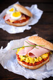 Scrambled egg sandwich Stock Photo