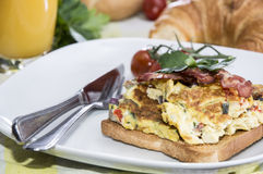 Scrambled Egg Sandwich with Bacon Stock Image