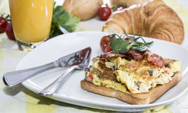 Scrambled Egg Sandwich with Bacon Stock Images