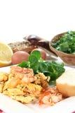 Scrambled egg with shrimp Stock Photo
