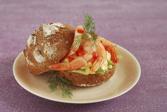 Scrambled egg and shrimp brown bread loaf sandwich Stock Image