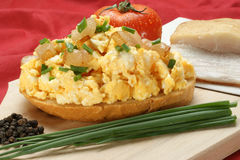 scrambled egg on a slice of bread Royalty Free Stock Photos