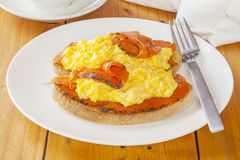 Scrambled Egg with Smoked Salmon Stock Photo