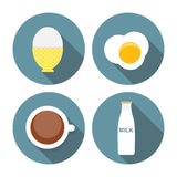 Scrambled Egg, Soft-Boiled Egg, Milk, Coffee Icon Royalty Free Stock Photos