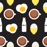 Scrambled Egg, Soft-Boiled Egg, Milk, Coffee Stock Image