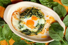 Scrambled egg with spinach Stock Images