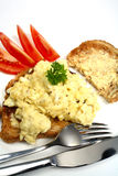 Scrambled egg on toast vertical Royalty Free Stock Photos
