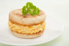 Scrambled Egg and Toasted English Muffin Sandwich Royalty Free Stock Images