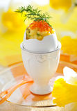 Scrambled Egg With Chives And Red Caviar Royalty Free Stock Images