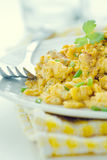 Scrambled eggs. With greens,cross process colors Royalty Free Stock Photography