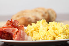 Scrambled eggs and bacon Royalty Free Stock Photo