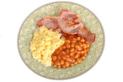 Scrambled Eggs with Bacon and Baked Beans Breakfast Stock Photos