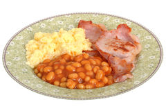 Scrambled Eggs with Bacon and Baked Beans Breakfast Royalty Free Stock Photos