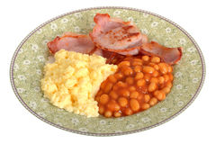 Scrambled Eggs with Bacon and Baked Beans Breakfast Stock Image