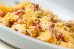 Scrambled eggs with bacon Royalty Free Stock Photo