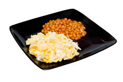 Scrambled eggs and  baked beans Stock Photos