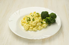 Scrambled Eggs with broccoli Royalty Free Stock Photography