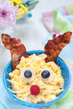 Scrambled eggs bunny for Easter breakfast Royalty Free Stock Image