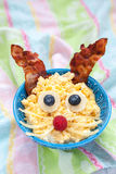 Scrambled eggs bunny for Easter breakfast Royalty Free Stock Photography