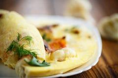 Scrambled eggs with cauliflower Stock Photo