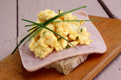 Scrambled eggs with chives Stock Photography