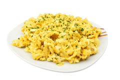 Scrambled eggs with chives Royalty Free Stock Images