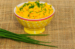 Scrambled eggs with chives Royalty Free Stock Image