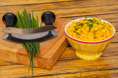 Scrambled eggs with chives Stock Image