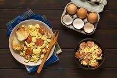 Scrambled Eggs with Chorizo Stock Photo