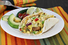 Scrambled eggs, chorizo and peppers in a tortilla. Royalty Free Stock Image