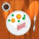 Scrambled Eggs and Coffee. Made in vector Stock Images