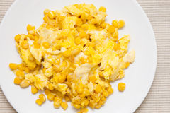 Scrambled Eggs and Corn Stock Images