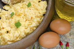 Scrambled eggs decorated Royalty Free Stock Photography